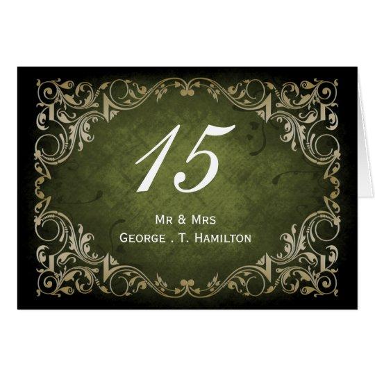 rustic green regal wedding table seating card