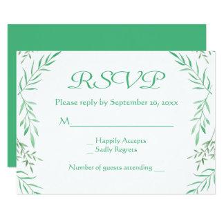Rustic Green RSVP Watercolor Leaves Ferns Leaf Card