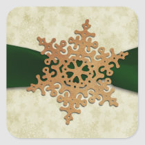 rustic green snowflake envelope seal