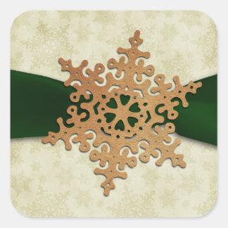 rustic green snowflake envelope seal stickers