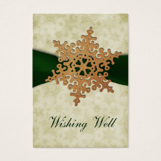 rustic green snowflake wishing well cards