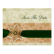rustic green snowflakes save the date postcard