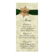 rustic green snowflakes winter wedding menu