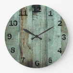 Rustic Green Stained Wooden Large Clock
