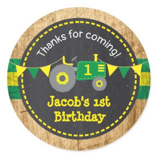 Rustic Green Tractor 1st Birthday Favor Sticker