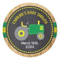Rustic Green Tractor Baby Shower Favor Labels
