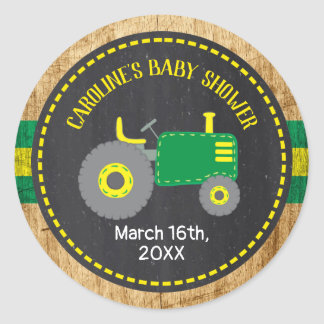 Rustic Green Tractor Baby Shower Favor Labels
