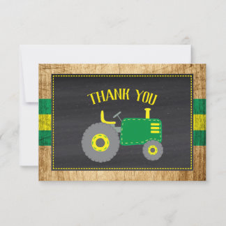 Rustic Green Tractor Baby Shower Thank You