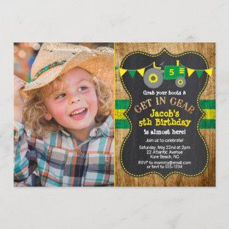 Rustic Green Tractor Birthday Photo Invitation