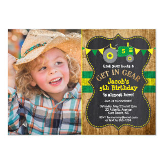 Rustic Green Tractor Birthday Photo Invitation