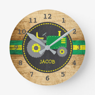 Rustic Green Tractor Faux Wood Round Clock