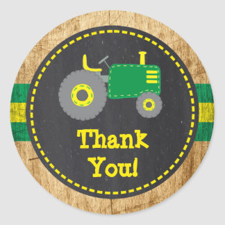 Rustic Green Tractor Thank You Favor Sticker