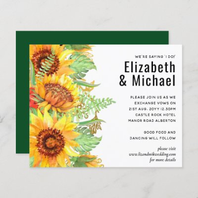 Rustic Green with Sunflowers Wedding Budget