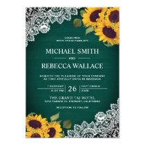 Rustic Green Wood Lace Sunflower Wedding Invitation