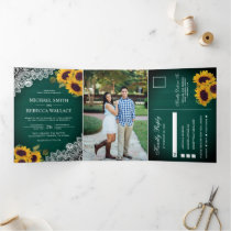 Rustic Green Wood Lace Sunflower Wedding Photo Tri-Fold Invitation