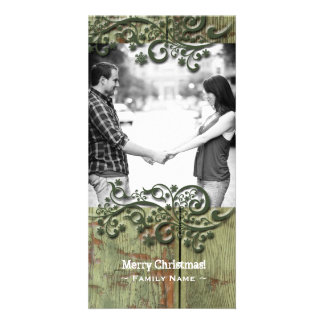 Rustic Green Wood Snow Photo Christmas Card
