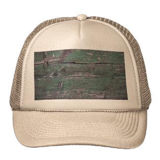Rustic green wood trucker hat