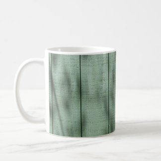 Rustic Green Wood Wall with Dappled Shadows/Light Coffee Mug