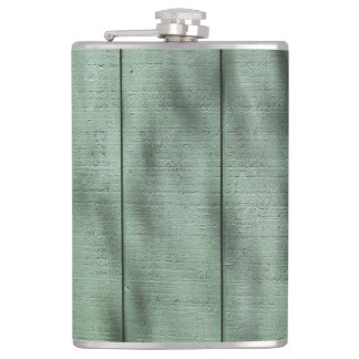 Rustic Green Wood Wall with Dappled Shadows/Light Hip Flask