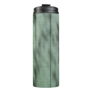 Rustic Green Wood Wall with Dappled Shadows/Light Thermal Tumbler