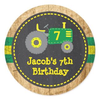 Rustic Green Yellow Tractor Birthday Favor Sticker