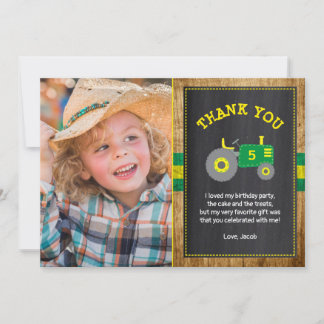 Rustic Green & Yellow Tractor Birthday Thank You