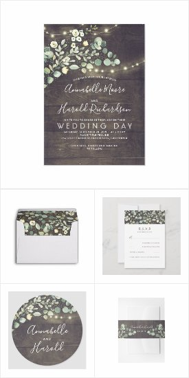Rustic Greenery Wedding Invitation Set