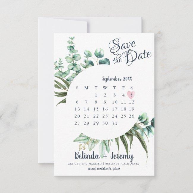 Rustic Greenery Eucalyptus Save The Date Calendar