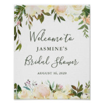 Rustic Greenery Floral Bridal Shower Welcome Sign
