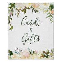 Rustic Greenery Floral Cards and Gifts Sign