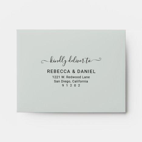 Rustic Greenery Pre-Printed Address Wedding RSVP Envelope