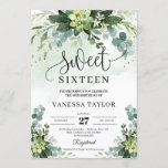 """Rustic greenery succulent flowers sweet sixteen invitation<br><div class=""""desc"""">Rustic greenery succulent flowers foliage eucalyptus sweet sixteen invitation,  Contact me for matching items or for customization,  Blush Roses ©</div>"""