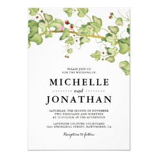 Watercolor Ivy Wedding Invitations