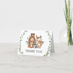 Rustic Greenery Woodland Animals Baby Shower Thank You Card
