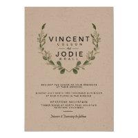 Rustic Greenery Wreath Watercolor Wedding Invite