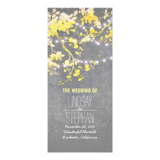 Rustic Grey and Yellow Branches Wedding Programs