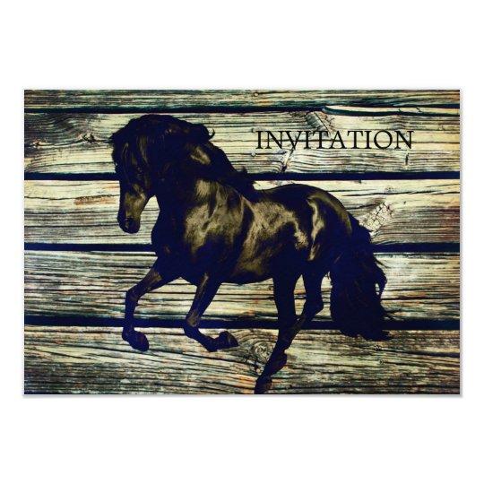 Rustic Grey Barn Wood Western Horse Themed Wedding Invitation