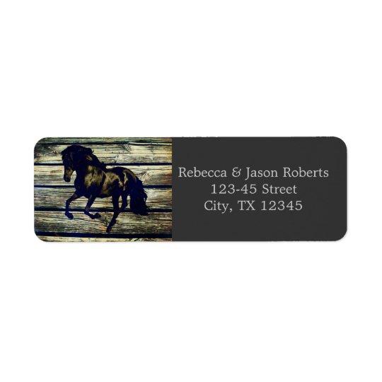 Rustic Grey Barn Wood Western Horse Themed Wedding Label Zazzle