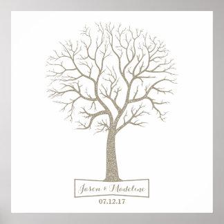 Rustic Grey Tan Tree Thumbprint Wedding Guestbook