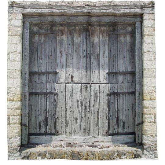 Rustic Grey Weathered Wood Stone Barn Door Shower Curtain