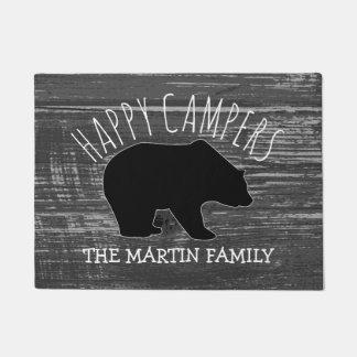 Rustic Grey Wood Bear Family Name | Happy Campers Doormat