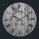 "Rustic Grey Wood Custom Family Name Farmhouse Large Clock<br><div class=""desc"">Farmhouse style wall clocks for the perfect addition to give your kitchen a country decor look. Personalize with family name and established year for an unique farmhouse wall clock.</div>"