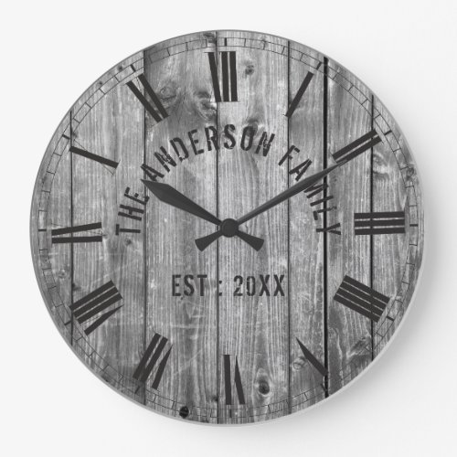 Rustic Grey Wood Custom Family Name Farmhouse Large Clock