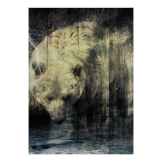 Rustic Grizzly Bear Design Poster