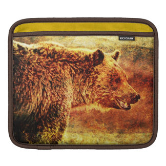 Rustic Grizzly Illustration iPad Sleeve