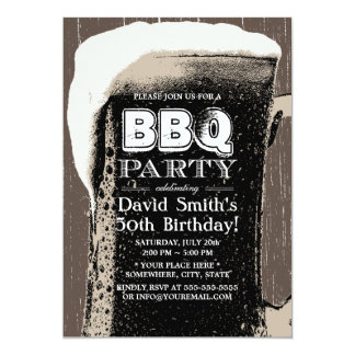 Rustic Grunge Beer & BBQ 50th Birthday Party 5x7 Paper Invitation Card