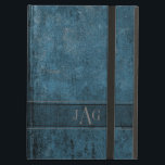 "Rustic Grunge Blue Book Design iPad Air Cover<br><div class=""desc"">Generate that natural book cover look with this richly textured vintage style design.  A semi transparent label has been added for you to add your initials or they can both be removed if you wish.</div>"