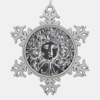 rustic grunge chalkboard art vintage medusa snowflake pewter christmas ornament