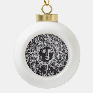 rustic grunge chalkboard art vintage medusa ceramic ball christmas ornament