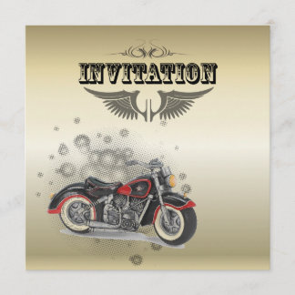 Rustic grunge Motorcyle Biker Wedding Announcement